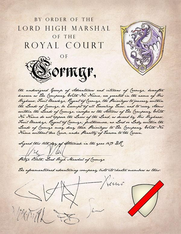 Cormyr Adventuring Company Charter